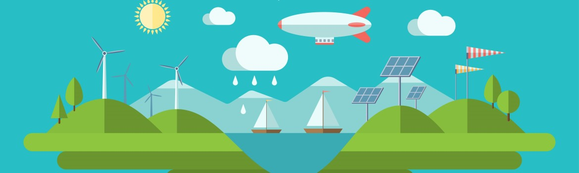 Flat design illustration with icons of ecology, green energy, pollution